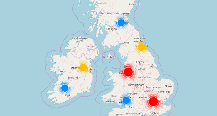 Map of Luggage and Bags stores - www.ukmalls.co.uk