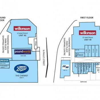 The Park Place Shopping Centre stores plan